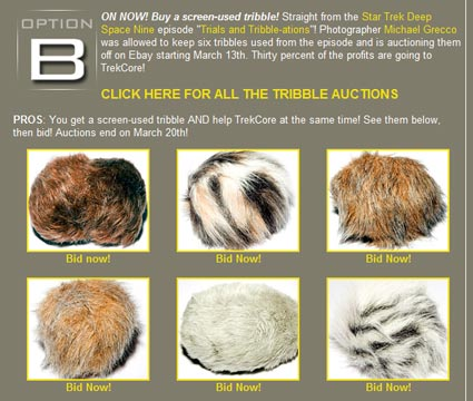 Tribbles auction Ebay